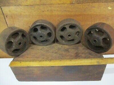4 Antique VICTORIAN CART WHEELS Vintage Cast Iron Metal Coffee Table H425
