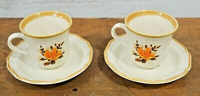 Vintage Mikasa Flowerfest Set of 5 pieces teacups saucers plate Brown & yellow