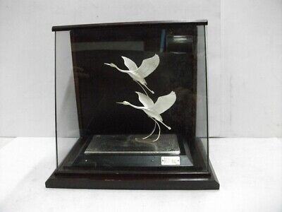 Pure silver. The sculpture of the happy crane. Japanese antique.