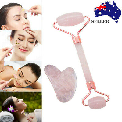 Natural Pink Rose Quartz Crystal Stone gua sha Roller Face Neck Beauty Massage