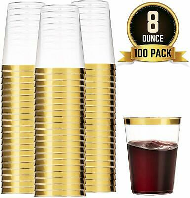 100 GOLD Plastic Cups 8 Oz Clear Tumblers Rimmed Fancy Disposable Wedding Elegan