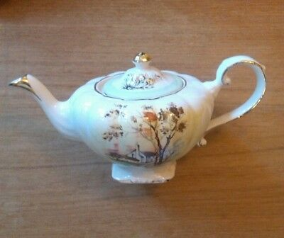 Antique Arthur Wood 'Autumn Cottage' Hand painted teapot English country