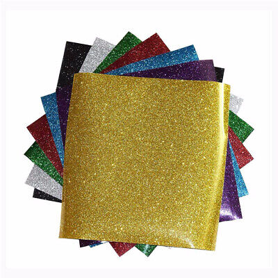 5 Sheets Heat Transfer Glitter Vinyl Iron on DIY Clothes Transfer Easy to Cut