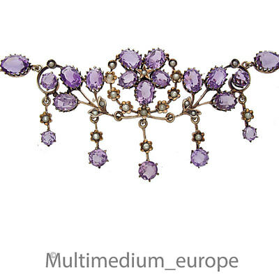 Antikes Jugendstil Collier Silber vergoldet Amethyst silver necklace 🌺🌺🌺🌺🌺