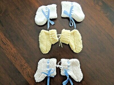 3 sets of Hand Knitted Baby Booties - Suit Newborn - Brand New - Never Used