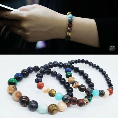 1PC Universe Solar System Planets Beads Weave Bracelet Space Stars Charm Bangle