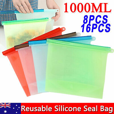 16x Reusable Silicone Food Storage Bags Container Preservation Zip Lock Airtight