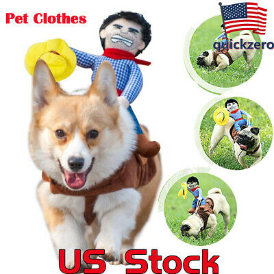 Pet Clothes Holiday Halloween Funny Dog Riding Horse Rodeo Cowboy Party Costume