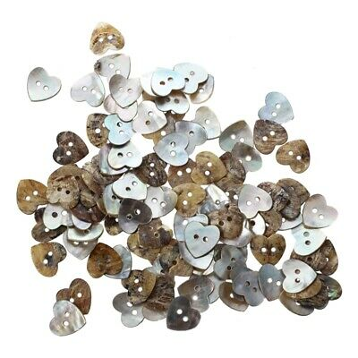 2X( Lot 100 Mother of Pearl Heart Shell Sewing Buttons 15mm HOT F3I6)
