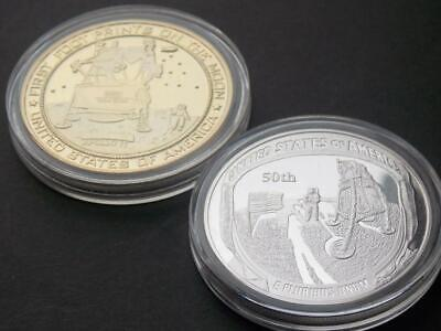 Two 1969 Apollo 11 Moon Landing 50th Anniversary Gold and Silver plated Coins