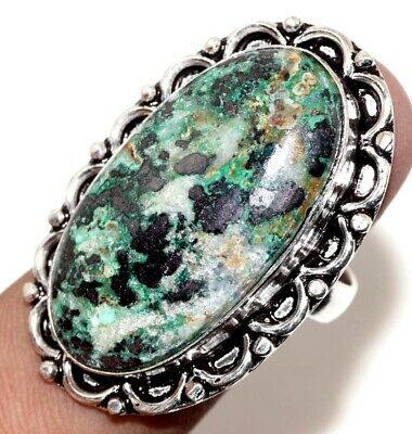 D24207 Azurite 925 Sterling Silver Plated Ring Us 8.5