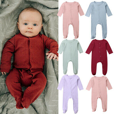 US Newborn Baby Boy Girl Solid Long Sleeve Romper Bodysuit Autumn Outfit Clothes