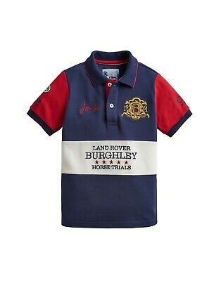 *NEW* Joules Boys Official Burghley Horse Trials 2019 Polo Shirt - French Navy