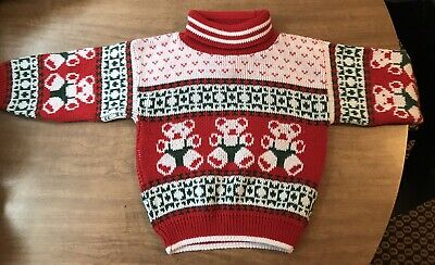 Aplleby Turtleneck Sweater Toddler Sweater Size 4T Bear Red Christmas Fair Isle