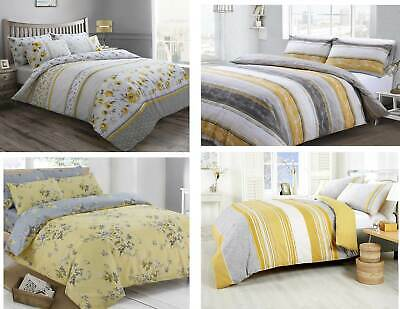 Floral Stripe Ochre Grey Mustard Duvet Quilt Cover Bedding Set With Pillowcases
