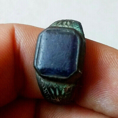Ancient Byzantine Bronze Ring Hand Carved w/Blue Stone