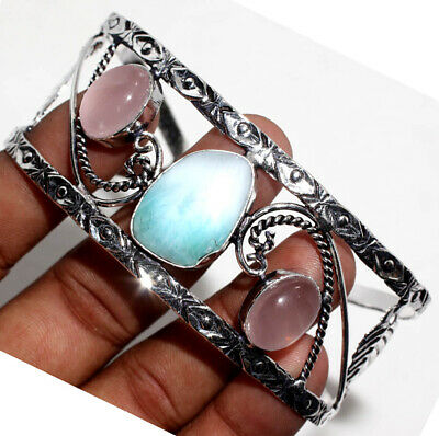 E30890 Larimar Rose Quartz 925 Sterling Silver Plated Bangle Jewelry
