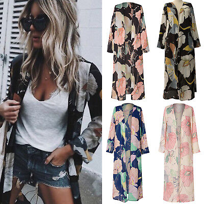 Women Floral Print Beach Cover Up Shawl Kimono Long Cardigan Jacket Blouse Coat