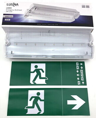 Luxna Led Emergency Bulkhead Light Non/Maintained Ip65 3W Lxebh Exit Running Man
