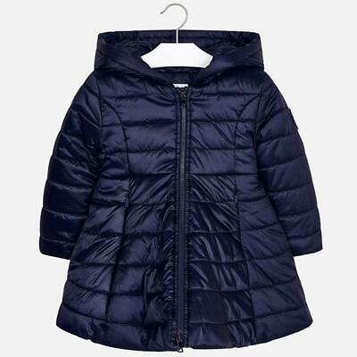 Mayoral Girl Padded Flare Coat with Hood In Navy (04416) Aged 2-8Yrs