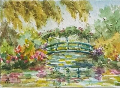 Aceo original art. Watercolour painting. Giverny.