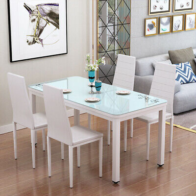 White Tempered Glass Top Dining Table Faux Leather Chairs Kitchen Furniture Set