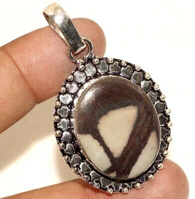 D27299 Picasso Jasper 925 Sterling Silver Plated Pendant 2""