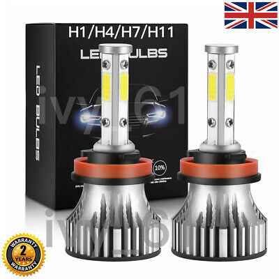 2X 4 Side H1 H4 H7 H11 Car LED Headlight Bulb Kit 200W 20000LM 6000k Canbus CREE