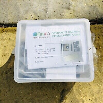 Timco Composite Decking Kit STARTER CLIPS FIXING CLIPS SELF SPACING X20 Job Lot