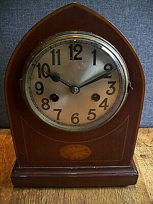 Antique Edwardian Inlaid Mahogany Lancet Top Mantel Clock with Chime (Pendulum)