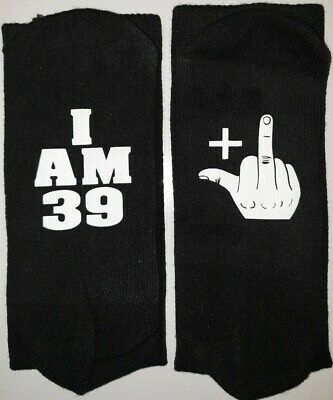 RUDE middle finger birthday socks ANY AGE 18th 21st 30th 40th 50th 60th 70th etc