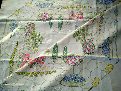 Outstanding 'Fairistytch'? English Country Garden Hand Embroidered Tablecloth
