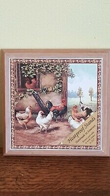 Vintage Heatproof Stand Kettle Pan Trivet /Teapot Stand or Wall Plaque Chickens
