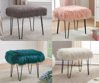 Faux Sheep Skin Dressing Table Stool Pink White Green Grey Fur Chic Hairpin Legs