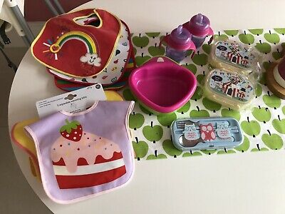 Baby Weaning Feeding Bundle- Mothercare Bibs ,Avent Sippy Cups ,Bowl, Lunchboxes