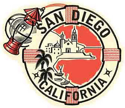 SAN DIEGO CA   California    Vintage 1950's Style   Travel Decal Sticker Label