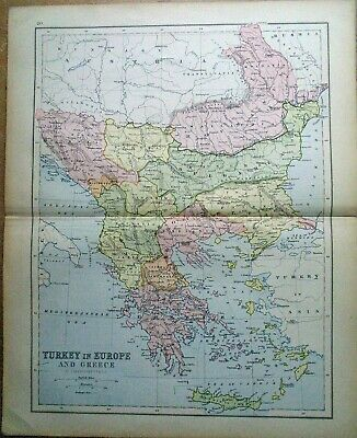 Antique MAP ~ TURKEY in EUROPE and GREECE ~ 1885