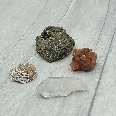 Small Lot of Mixed Gemstones, Pyrite, Aragonite, Quartz and Desert Rose