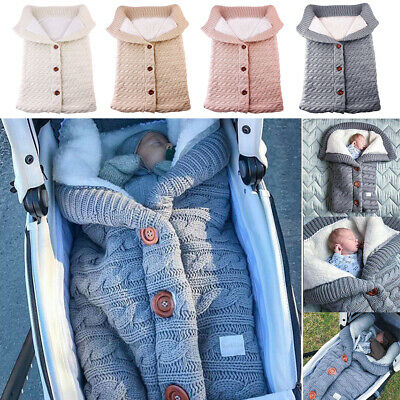 Newborn Baby Infant Swaddle Wrap Swaddling Blanket Sleeping Bag Winter Warm Knit