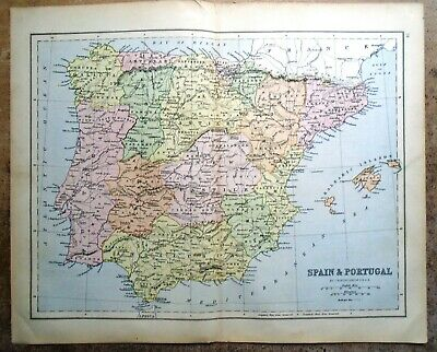 Antique MAP ~ SPAIN & PORTUGAL by John Bartholomew ~ 1885