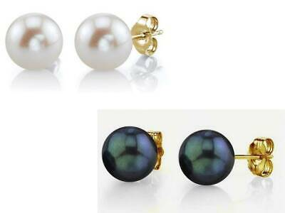 Genuine 925 Sterling Silver Gold Plated Pierced Faux Pearl Round Stud Earrings