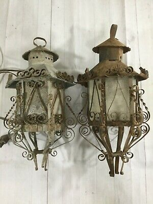 Antique vintage metal tin Mexico Mexican Spanish hanging lamp