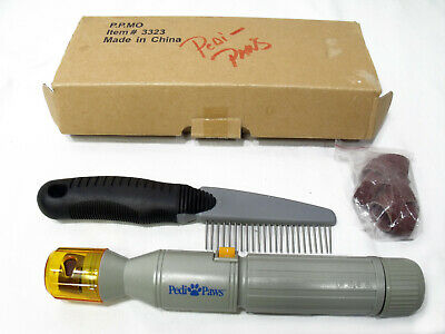 PEDI PAWS NAIL GROOMING TRIMMER / CORDLESS w/ Groomimg Comb & Xtra Sanding Drums