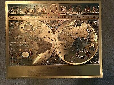 Vintage Gold Foiled Blaeu Wall Map of New World 21x17 in, Warren Hitchin Herts