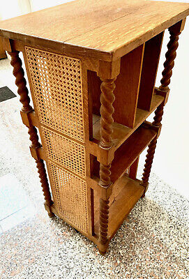 Antique Quaint Stickley Brothers Rare Caned & Oak Bookstand