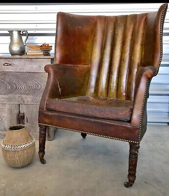 Antique 19th Century English  Leather Wingback Library Chair