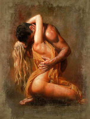 ZWPT191 hand painted portrait naked man and girl kiss oil painting  Canvas