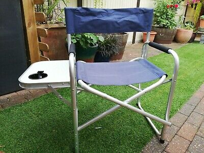 Aluminium Directors Folding Chair With Arms Director Camping Garden Blue