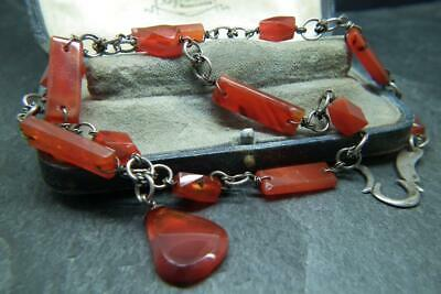 Fine Antique Victorian Solid Silver & Carnelian Necklace Watch Chain