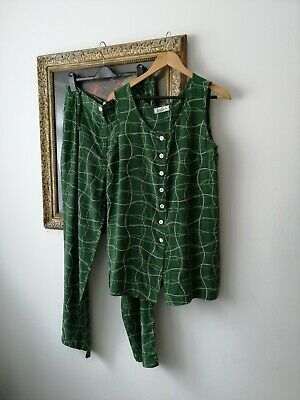 Betty Barclay Vintage 100% Silk Green Printed  2 Piece Co Ord Top 14 Trousers 16